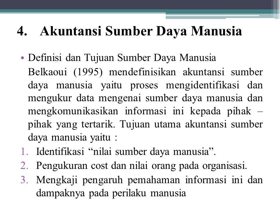 4.Akuntansi Sumber Daya Manusia Definisi dan Tujuan Sumber Daya Manusia Belkaoui (1995) mendefinisikan akuntansi sumber daya manusia yaitu proses meng