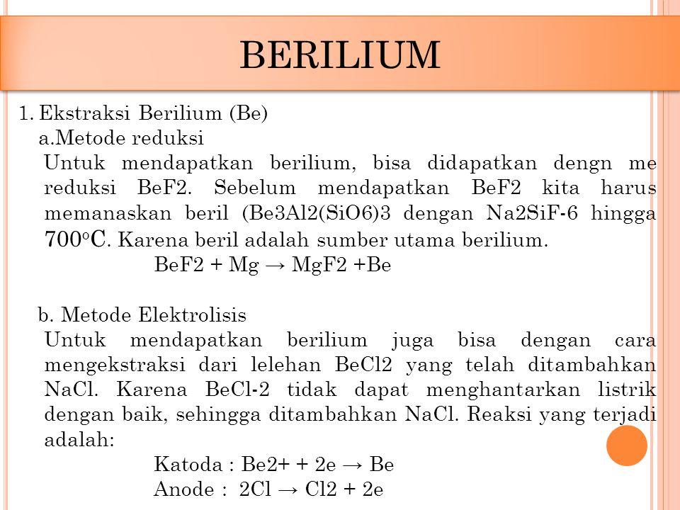 1.Ekstraksi Berilium (Be) a.Metode reduksi Untuk mendapatkan berilium, bisa didapatkan dengn me reduksi BeF2. Sebelum mendapatkan BeF2 kita harus mema