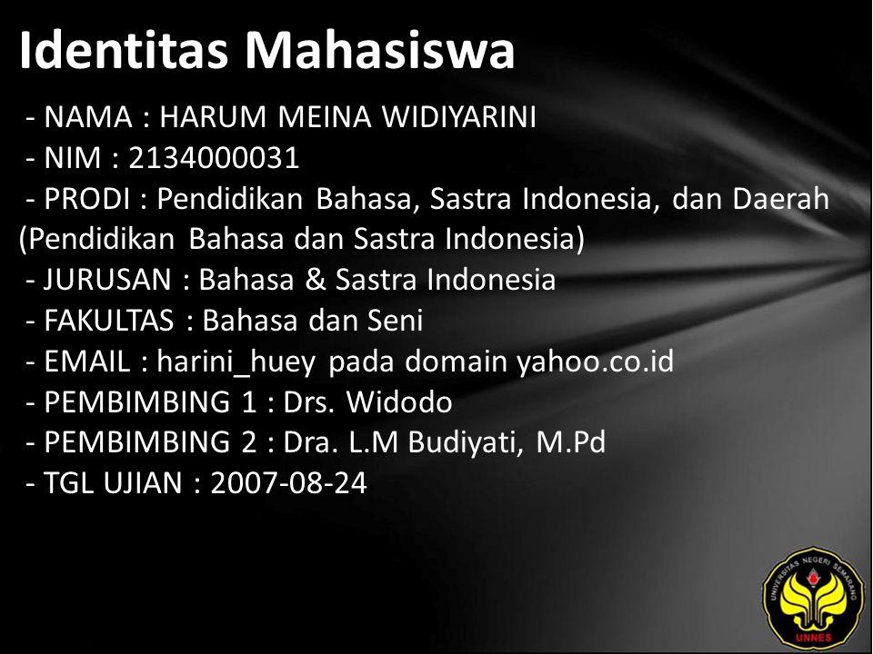Identitas Mahasiswa - NAMA : HARUM MEINA WIDIYARINI - NIM : 2134000031 - PRODI : Pendidikan Bahasa, Sastra Indonesia, dan Daerah (Pendidikan Bahasa da