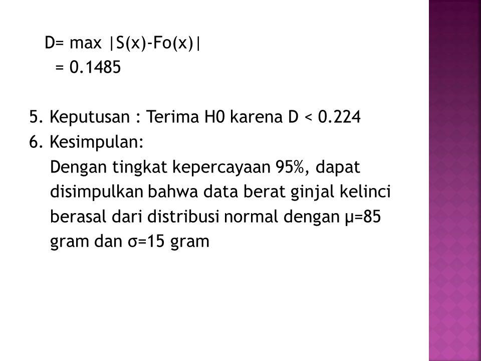 D= max |S(x)-Fo(x)| = 0.1485 5. Keputusan : Terima H0 karena D < 0.224 6. Kesimpulan: Dengan tingkat kepercayaan 95%, dapat disimpulkan bahwa data ber