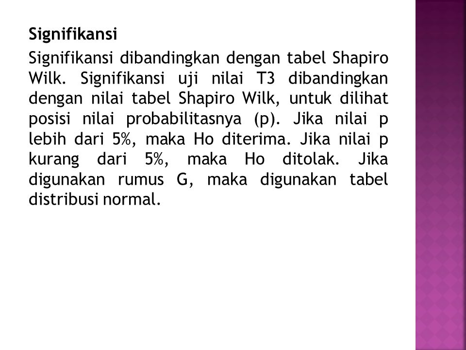 Signifikansi Signifikansi dibandingkan dengan tabel Shapiro Wilk.