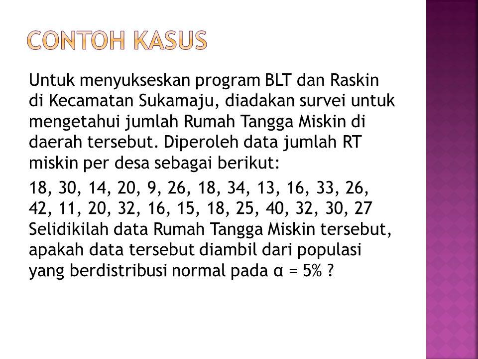 Untuk menyukseskan program BLT dan Raskin di Kecamatan Sukamaju, diadakan survei untuk mengetahui jumlah Rumah Tangga Miskin di daerah tersebut.