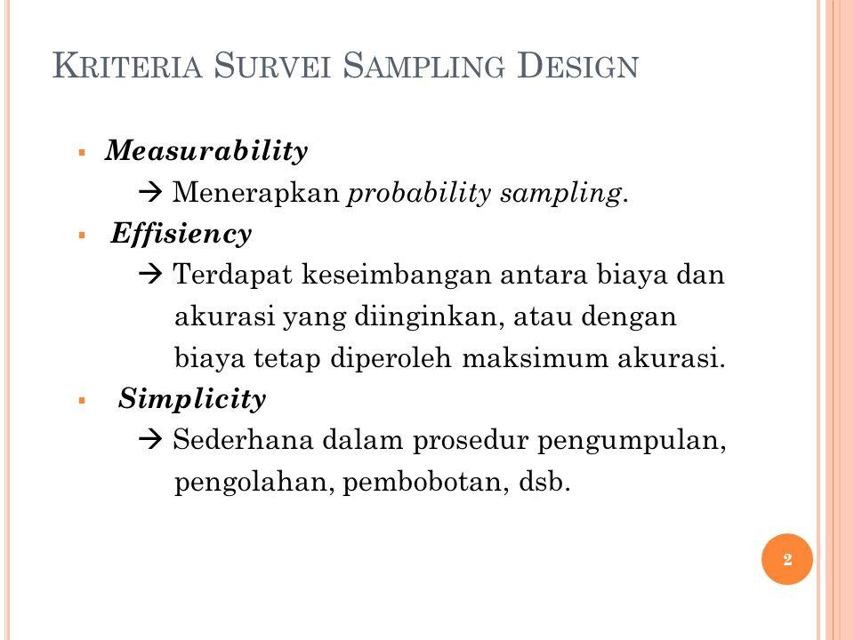 K RITERIA S URVEI S AMPLING D ESIGN  Measurability  Menerapkan probability sampling.  Effisiency  Terdapat keseimbangan antara biaya dan akurasi y