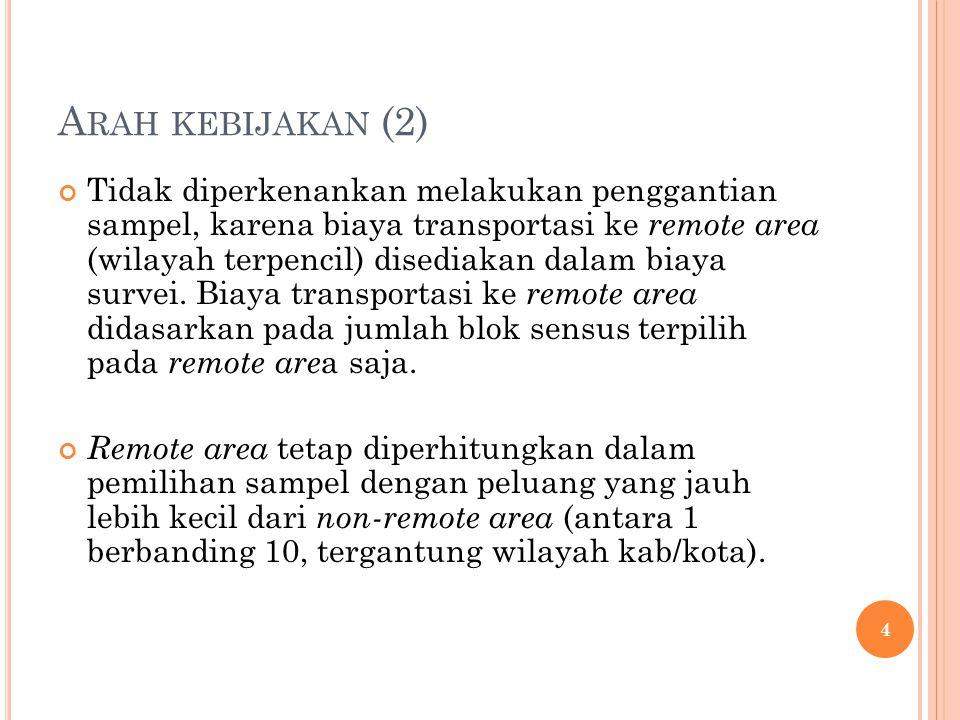 A RAH KEBIJAKAN (2) Tidak diperkenankan melakukan penggantian sampel, karena biaya transportasi ke remote area (wilayah terpencil) disediakan dalam bi