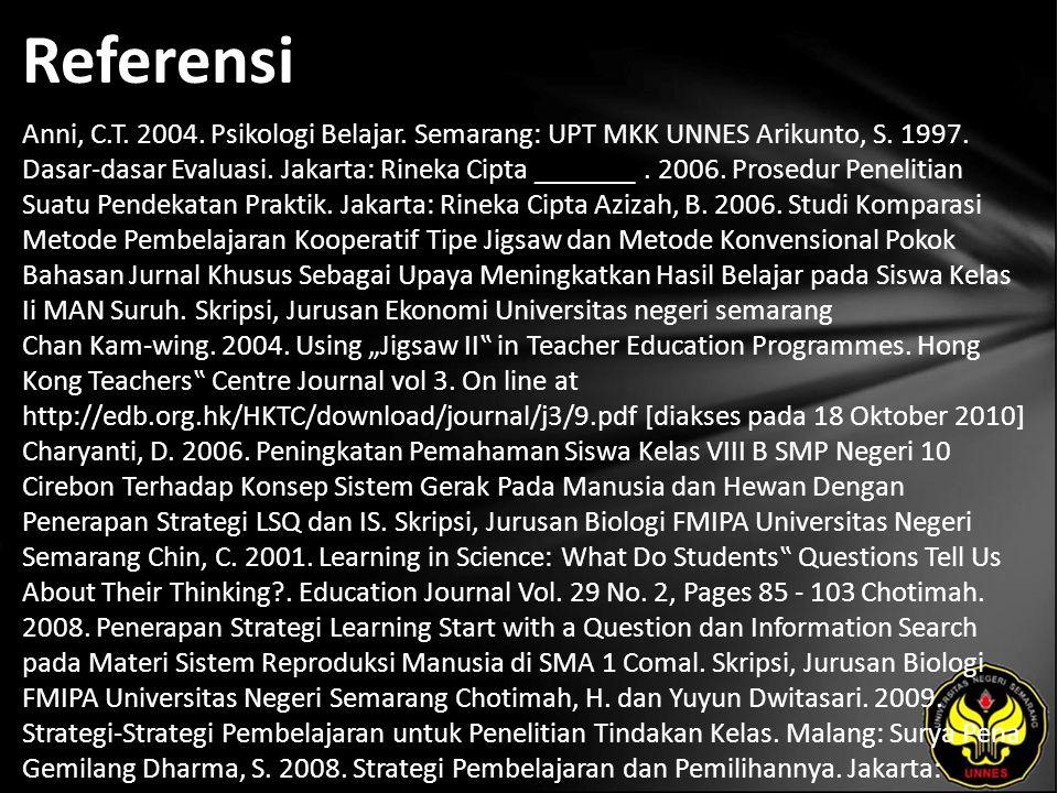 Referensi Anni, C.T. 2004. Psikologi Belajar. Semarang: UPT MKK UNNES Arikunto, S. 1997. Dasar-dasar Evaluasi. Jakarta: Rineka Cipta _______. 2006. Pr