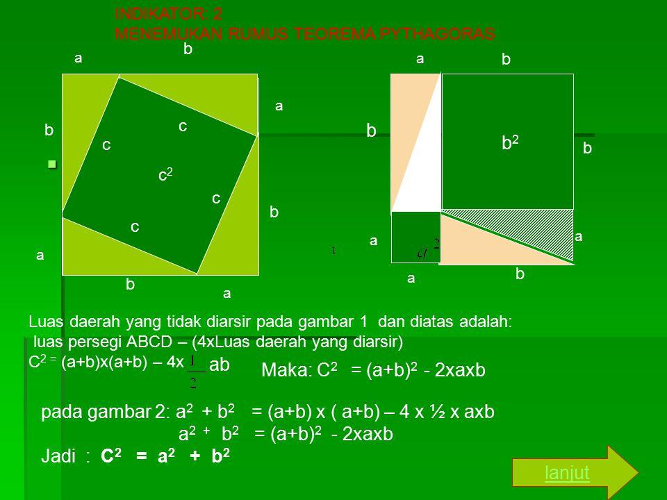  www INDIKATOR: 2 MENEMUKAN RUMUS TEOREMA PYTHAGORAS a a b a a b b b c c c c c2c2 a a a a b b b b2b2 b Luas daerah yang tidak diarsir pada gambar 1 dan diatas adalah: luas persegi ABCD – (4xLuas daerah yang diarsir) C 2 = (a+b)x(a+b) – 4x ab Maka: C 2 = (a+b) 2 - 2xaxb pada gambar 2: a 2 + b 2 = (a+b) x ( a+b) – 4 x ½ x axb a 2 + b 2 = (a+b) 2 - 2xaxb Jadi : C 2 = a 2 + b 2 lanjut