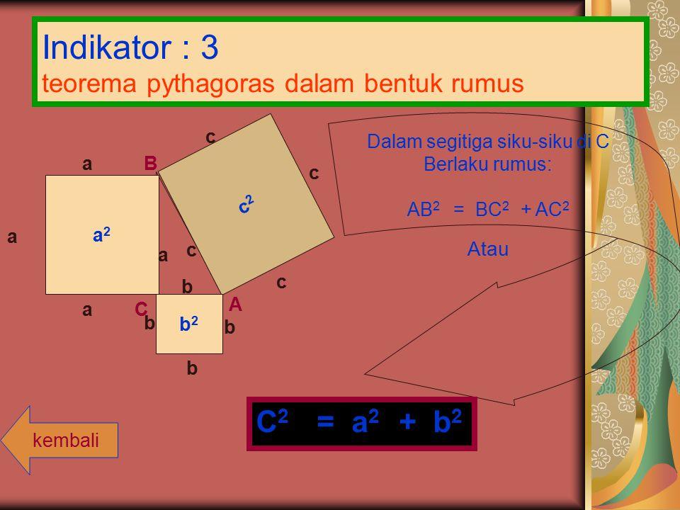Indikator : 3 teorema pythagoras dalam bentuk rumus c2c2 a 2 b 2 a c b A B Ca a a c c c b b b Dalam segitiga siku-siku di C Berlaku rumus: AB 2 = BC 2 + AC 2 Atau C 2 = a 2 + b 2 kembali