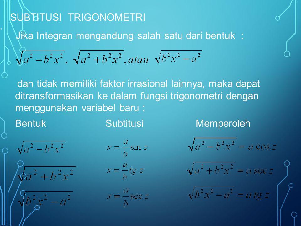 SUBTITUSI TRIGONOMETRI Jika Integran mengandung salah satu dari bentuk :, dan tidak memiliki faktor irrasional lainnya, maka dapat ditransformasikan ke dalam fungsi trigonometri dengan menggunakan variabel baru : BentukSubtitusiMemperoleh