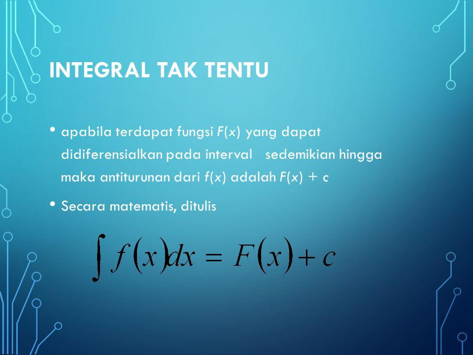 di mana Lambang integral yang menyatakan operasi antiturunan f(x)Fungsi integran, yaitu fungsi yang dicari antiturunannya cKonstanta