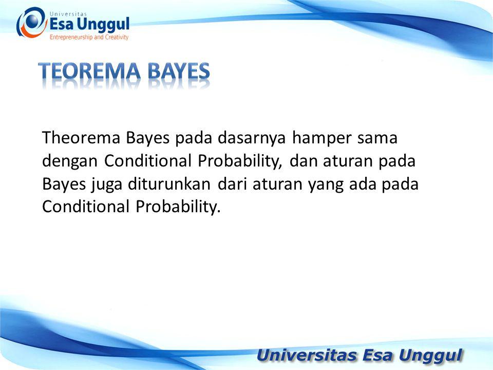 Tahun Pendapatan Nasional (milyar Rupiah) 1990 1991 1992 1993 1994 1995 1996 1997 590,6 612,7 630,8 645 667,9 702,3 801,3 815,7 Theorema Bayes pada dasarnya hamper sama dengan Conditional Probability, dan aturan pada Bayes juga diturunkan dari aturan yang ada pada Conditional Probability.