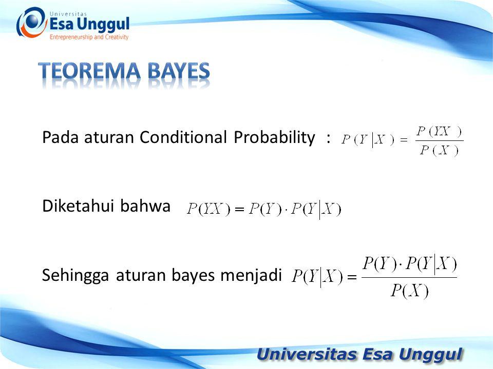 Tahun Pendapatan Nasional (milyar Rupiah) 1990 1991 1992 1993 1994 1995 1996 1997 590,6 612,7 630,8 645 667,9 702,3 801,3 815,7 Pada aturan Conditional Probability : Diketahui bahwa Sehingga aturan bayes menjadi