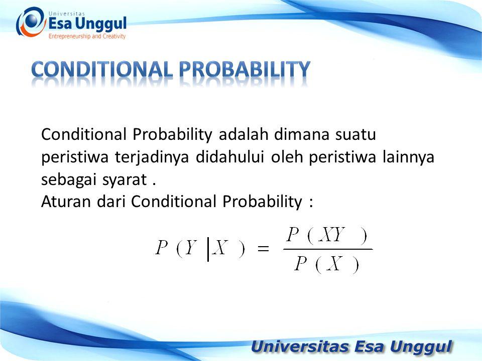Tahun Pendapatan Nasional (milyar Rupiah) 1990 1991 1992 1993 1994 1995 1996 1997 590,6 612,7 630,8 645 667,9 702,3 801,3 815,7 Conditional Probability adalah dimana suatu peristiwa terjadinya didahului oleh peristiwa lainnya sebagai syarat.