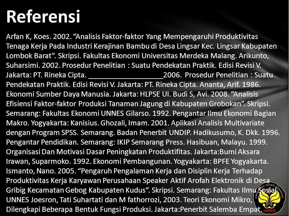 Referensi Arfan K, Koes.2002.