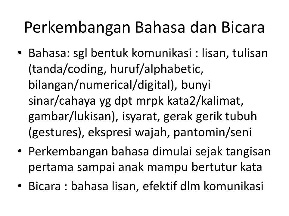 Perkembangan Bahasa dan Bicara Bahasa: sgl bentuk komunikasi : lisan, tulisan (tanda/coding, huruf/alphabetic, bilangan/numerical/digital), bunyi sina