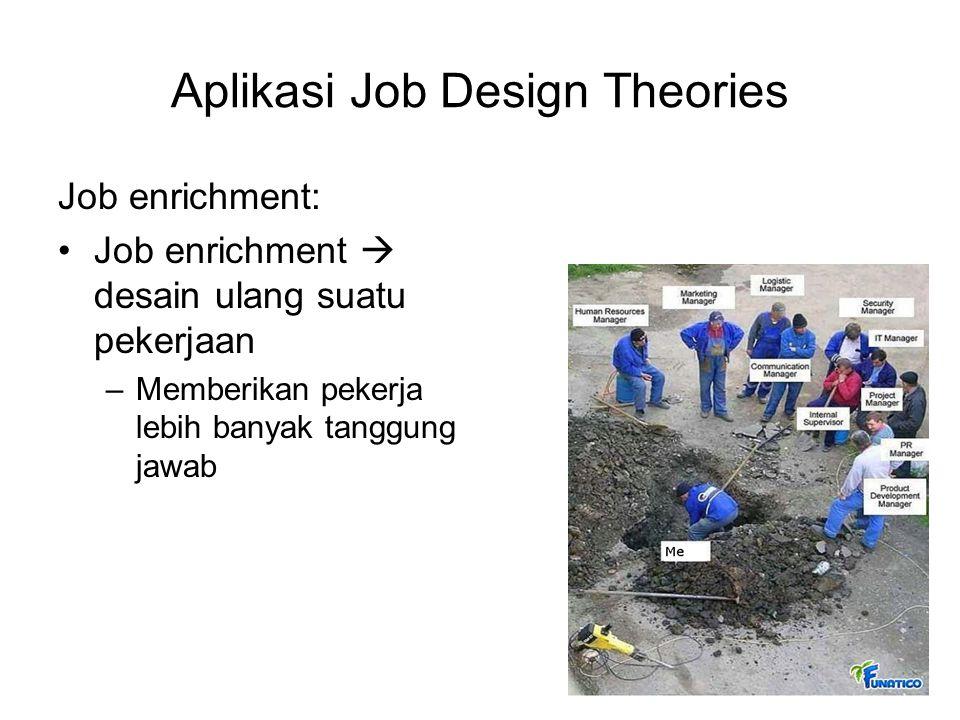 Aplikasi Job Design Theories Job enrichment: Job enrichment  desain ulang suatu pekerjaan –Memberikan pekerja lebih banyak tanggung jawab