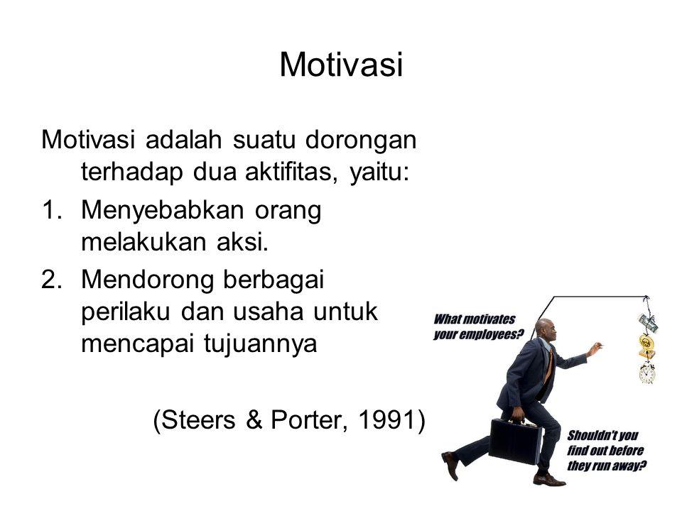 Motivasi Motivasi adalah suatu dorongan terhadap dua aktifitas, yaitu: 1.Menyebabkan orang melakukan aksi. 2.Mendorong berbagai perilaku dan usaha unt