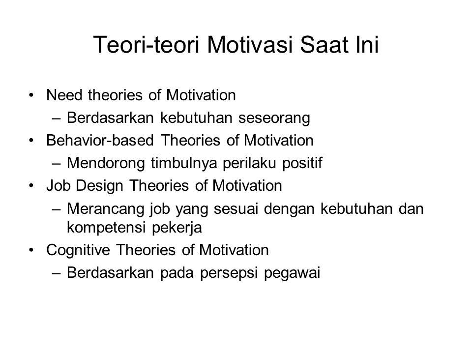 Teori-teori Motivasi Saat Ini Need theories of Motivation –Berdasarkan kebutuhan seseorang Behavior-based Theories of Motivation –Mendorong timbulnya