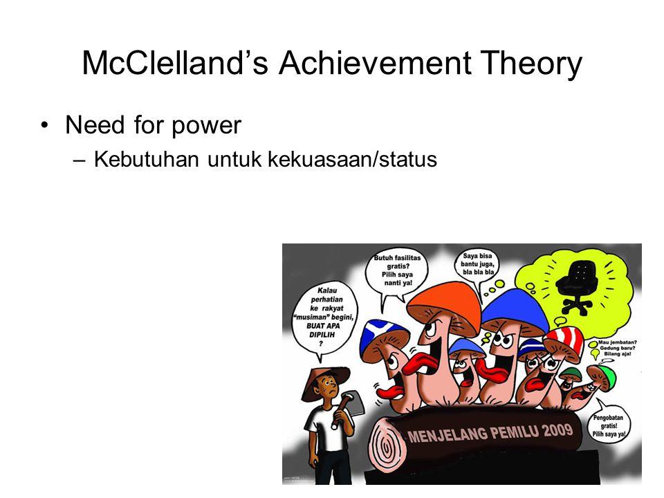McClelland's Achievement Theory Need for power –Kebutuhan untuk kekuasaan/status