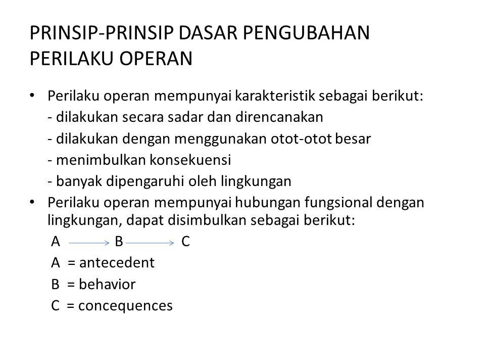 PRINSIP-PRINSIP DASAR PENGUBAHAN PERILAKU OPERAN Perilaku operan mempunyai karakteristik sebagai berikut: - dilakukan secara sadar dan direncanakan -