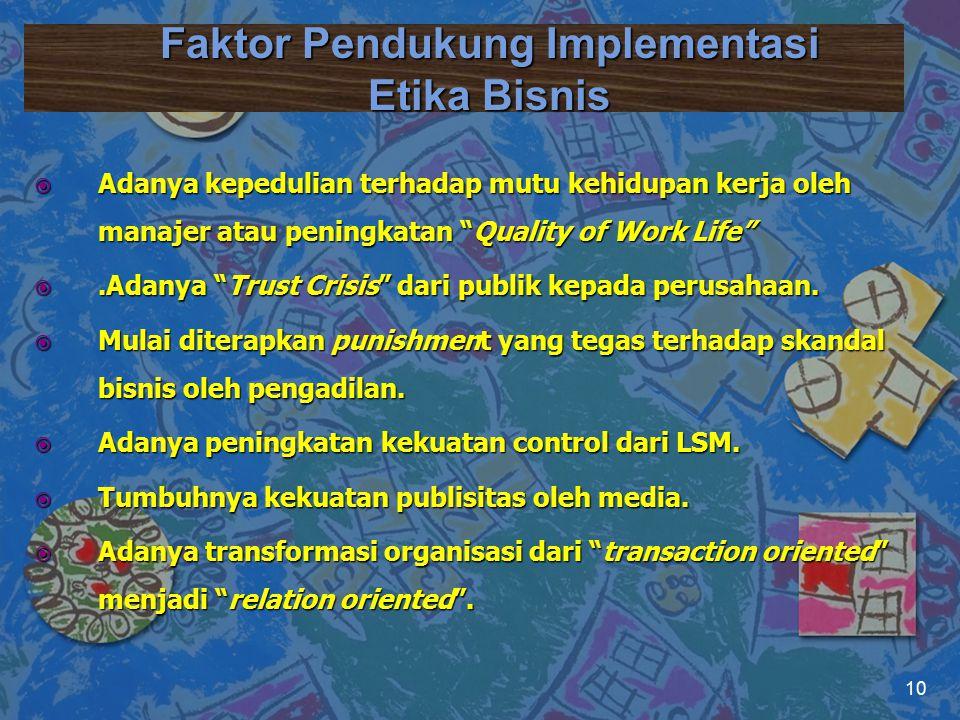 """Faktor Pendukung Implementasi Etika Bisnis  Adanya kepedulian terhadap mutu kehidupan kerja oleh manajer atau peningkatan """"Quality of Work Life"""" .Ad"""