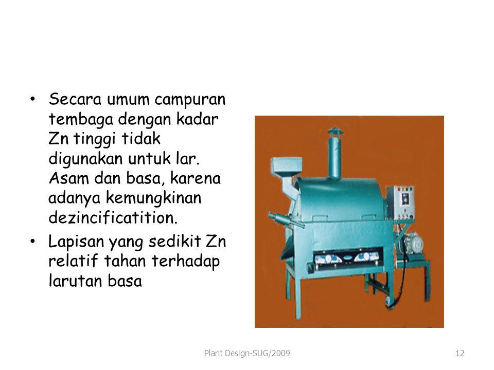 Secara umum campuran tembaga dengan kadar Zn tinggi tidak digunakan untuk lar.