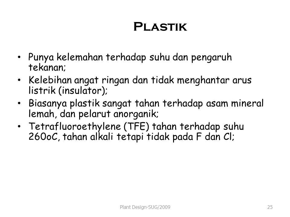 Plastik Punya kelemahan terhadap suhu dan pengaruh tekanan; Kelebihan angat ringan dan tidak menghantar arus listrik (insulator); Biasanya plastik sangat tahan terhadap asam mineral lemah, dan pelarut anorganik; Tetrafluoroethylene (TFE) tahan terhadap suhu 260oC, tahan alkali tetapi tidak pada F dan Cl; Plant Design-SUG/200925