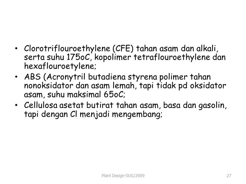 Clorotriflouroethylene (CFE) tahan asam dan alkali, serta suhu 175oC, kopolimer tetraflouroethylene dan hexaflouroetylene; ABS (Acronytril butadiena styrena polimer tahan nonoksidator dan asam lemah, tapi tidak pd oksidator asam, suhu maksimal 65oC; Cellulosa asetat butirat tahan asam, basa dan gasolin, tapi dengan Cl menjadi mengembang; Plant Design-SUG/200927