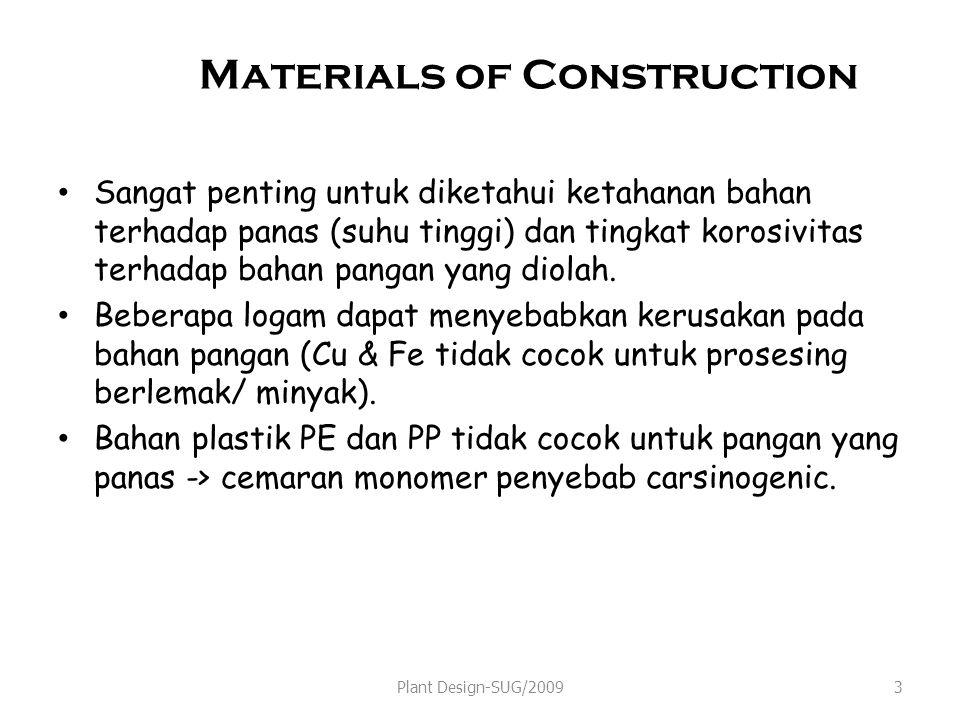 Materials of Construction Sangat penting untuk diketahui ketahanan bahan terhadap panas (suhu tinggi) dan tingkat korosivitas terhadap bahan pangan ya