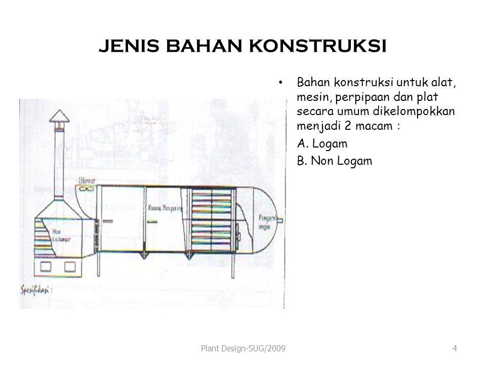 JENIS BAHAN KONSTRUKSI Bahan konstruksi untuk alat, mesin, perpipaan dan plat secara umum dikelompokkan menjadi 2 macam : A.