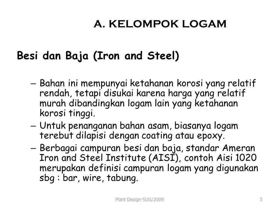 A. KELOMPOK LOGAM Besi dan Baja (Iron and Steel) –Bahan ini mempunyai ketahanan korosi yang relatif rendah, tetapi disukai karena harga yang relatif m