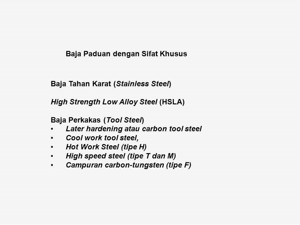 Baja Paduan dengan Sifat Khusus Baja Tahan Karat (Stainless Steel) High Strength Low Alloy Steel (HSLA) Baja Perkakas (Tool Steel) Later hardening ata