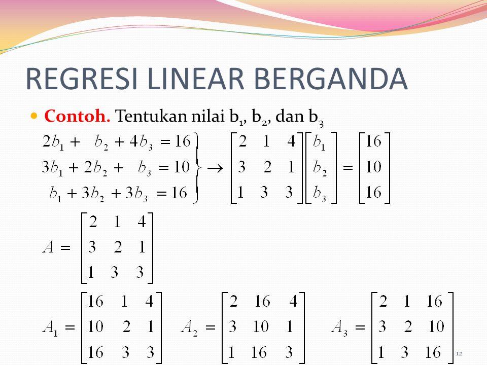REGRESI LINEAR BERGANDA Contoh. Tentukan nilai b 1, b 2, dan b 3 12