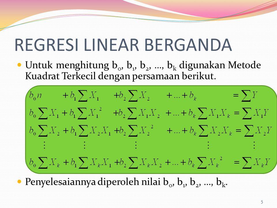 REGRESI LINEAR BERGANDA Untuk menghitung b 0, b 1, b 2, …, b k digunakan Metode Kuadrat Terkecil dengan persamaan berikut. Penyelesaiannya diperoleh n