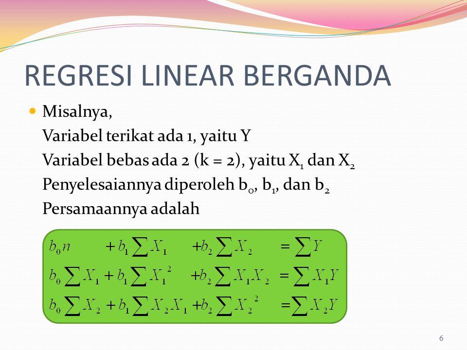 REGRESI LINEAR BERGANDA Misalnya, Variabel terikat ada 1, yaitu Y Variabel bebas ada 2 (k = 2), yaitu X 1 dan X 2 Penyelesaiannya diperoleh b 0, b 1,