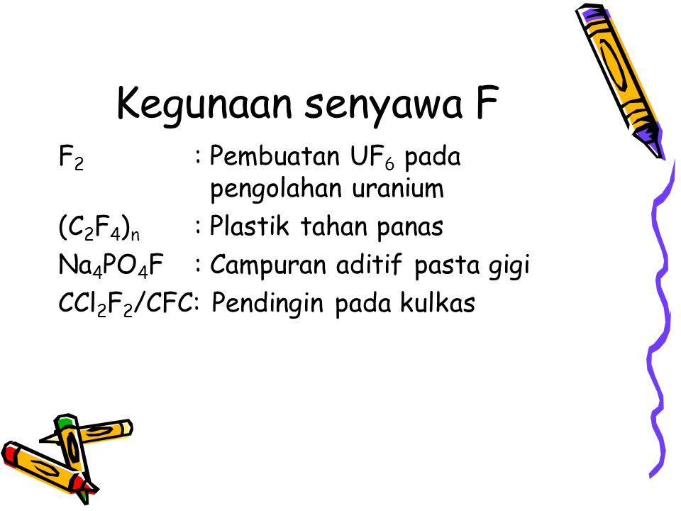 Kegunaan senyawa F F 2 : Pembuatan UF 6 pada pengolahan uranium (C 2 F 4 ) n : Plastik tahan panas Na 4 PO 4 F: Campuran aditif pasta gigi CCl 2 F 2 /
