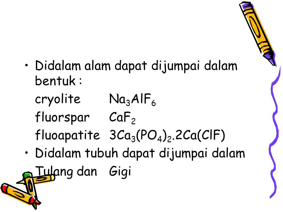 Didalam alam dapat dijumpai dalam bentuk : cryolite Na 3 AlF 6 fluorspar CaF 2 fluoapatite3Ca 3 (PO 4 ) 2.2Ca(ClF) Didalam tubuh dapat dijumpai dalam