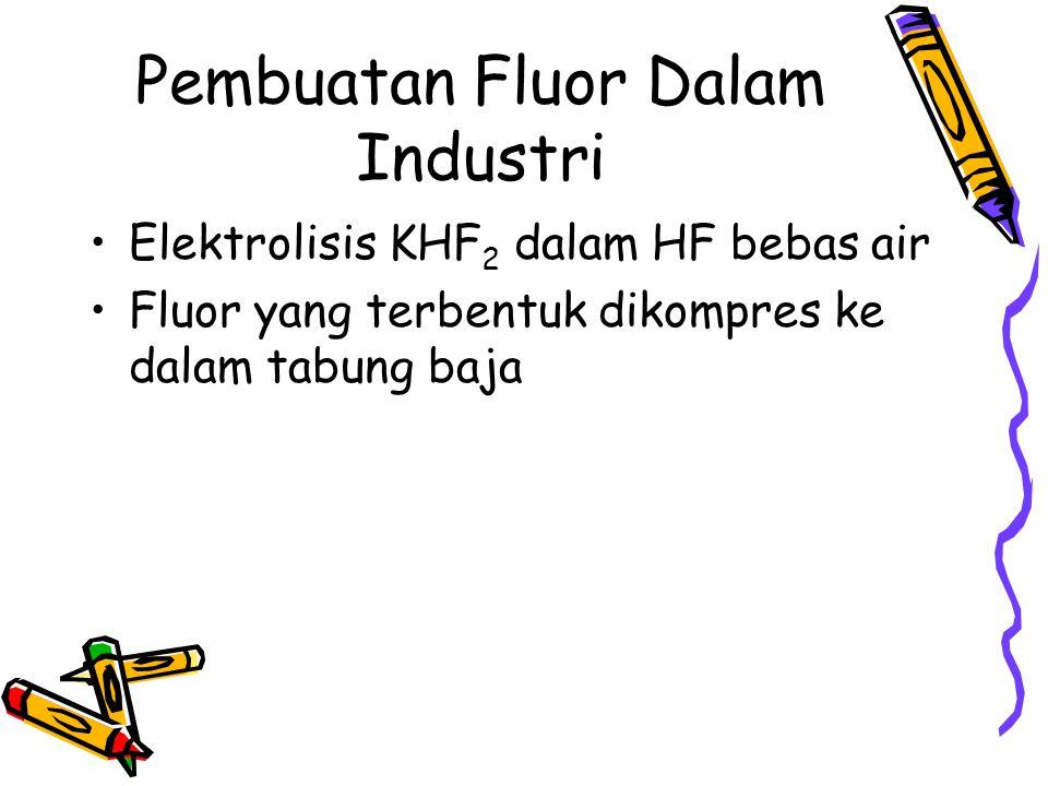 Pembuatan Fluor Dalam Industri Elektrolisis KHF 2 dalam HF bebas air Fluor yang terbentuk dikompres ke dalam tabung baja