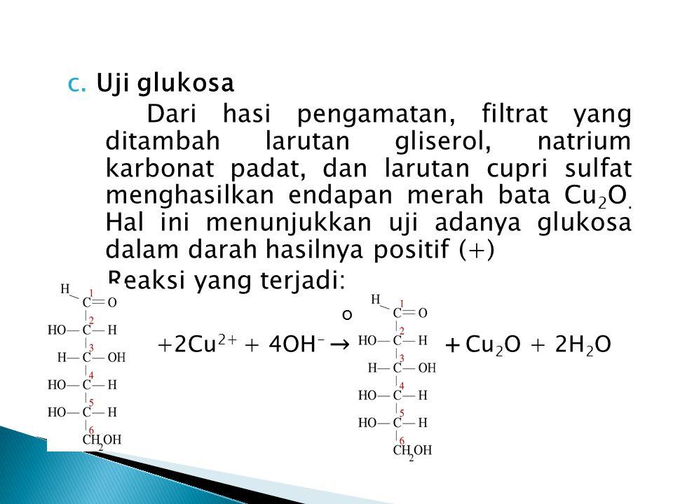 c. Uji glukosa Dari hasi pengamatan, filtrat yang ditambah larutan gliserol, natrium karbonat padat, dan larutan cupri sulfat menghasilkan endapan mer