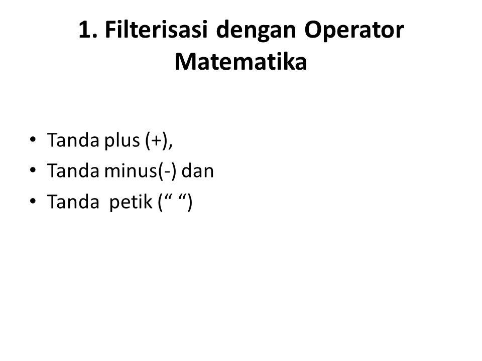 """1. Filterisasi dengan Operator Matematika Tanda plus (+), Tanda minus(-) dan Tanda petik ("""" """")"""