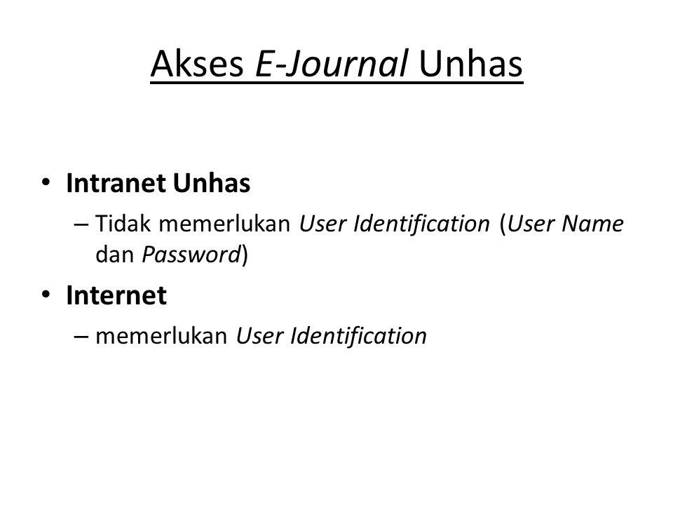 Internet : Proquest http://unhas.ac.id/perpustakaan/ atau www.proquest.com/pqdauto http://unhas.ac.id/perpustakaan/ www.proquest.com/pqdauto – Nama User : 0TBCR3KD4B  huruf pertama 0 =Nol – Password : pqunhas