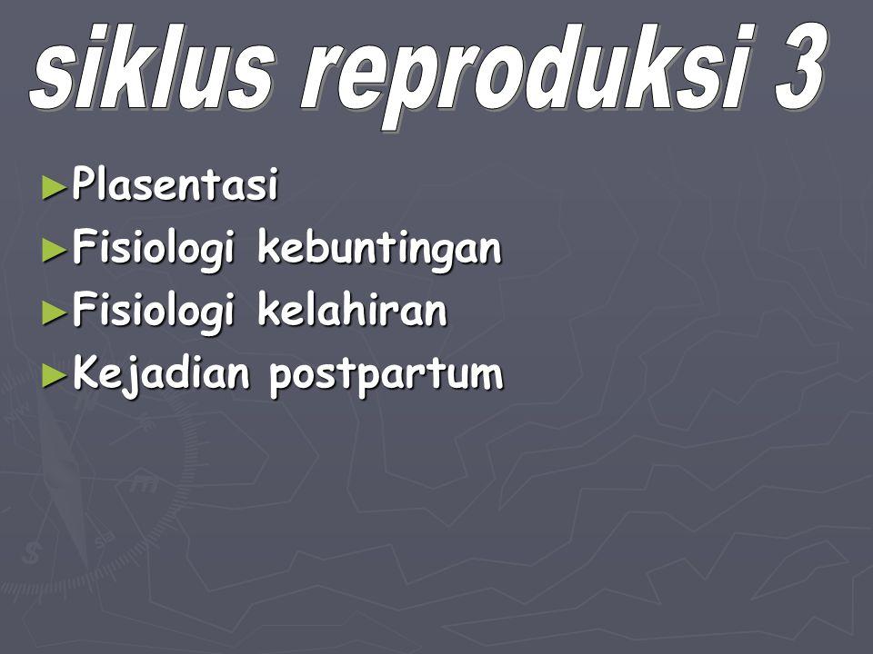 ► Plasentasi ► Fisiologi kebuntingan ► Fisiologi kelahiran ► Kejadian postpartum