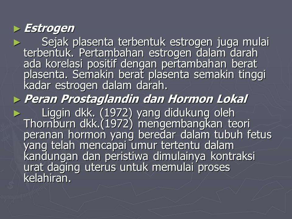 ► Estrogen ► Sejak plasenta terbentuk estrogen juga mulai terbentuk. Pertambahan estrogen dalam darah ada korelasi positif dengan pertambahan berat pl