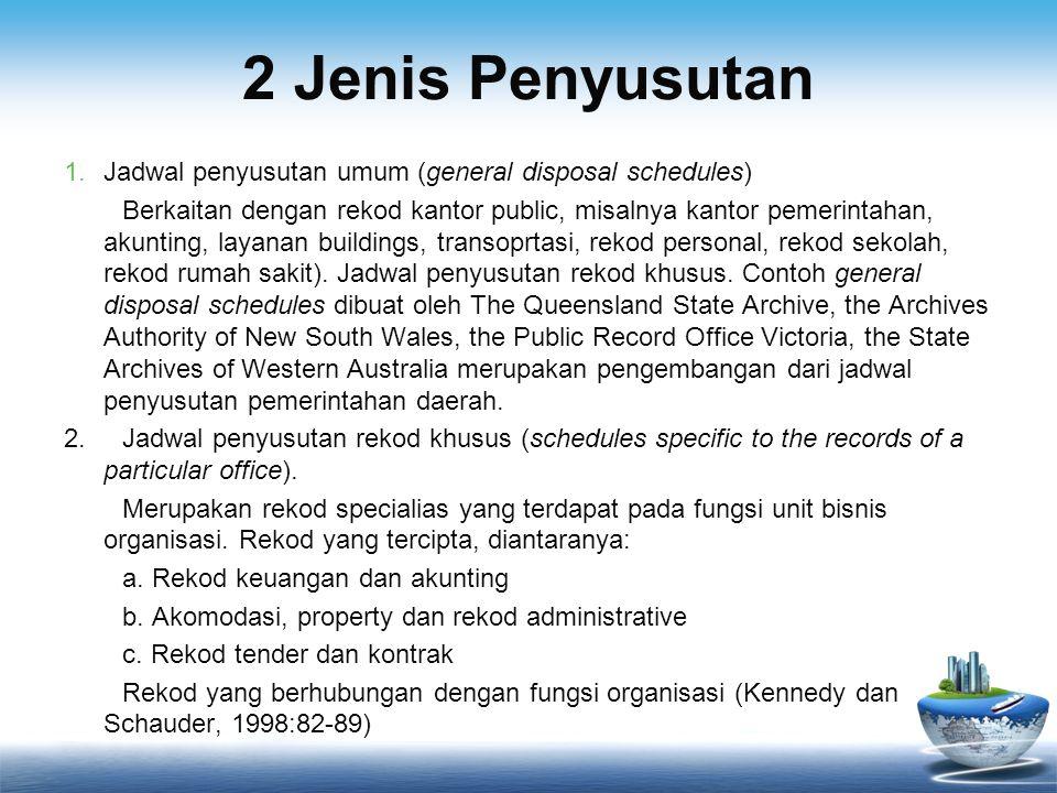 2 Jenis Penyusutan 1.Jadwal penyusutan umum (general disposal schedules) Berkaitan dengan rekod kantor public, misalnya kantor pemerintahan, akunting,