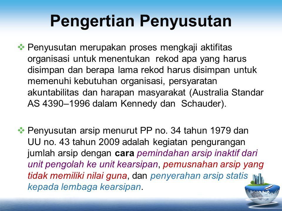 Pengertian Penyusutan Arsip Ham (1993) dari Asosiasi Arsiparis Amerika Serikat, penyusutan adalah pemusnahan (destroying) arsip yang tidak mempunyai nilai guna, hukum, administratif, ataupun fiskal.