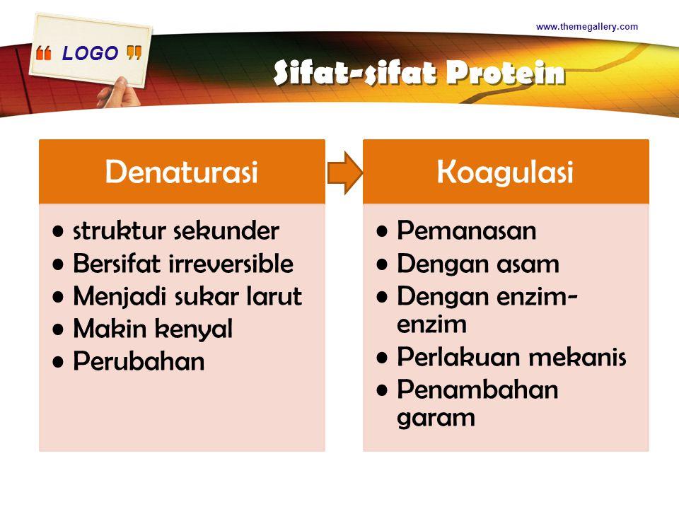 LOGO Sifat-sifat Protein Denaturasi struktur sekunder Bersifat irreversible Menjadi sukar larut Makin kenyal Perubahan Koagulasi Pemanasan Dengan asam