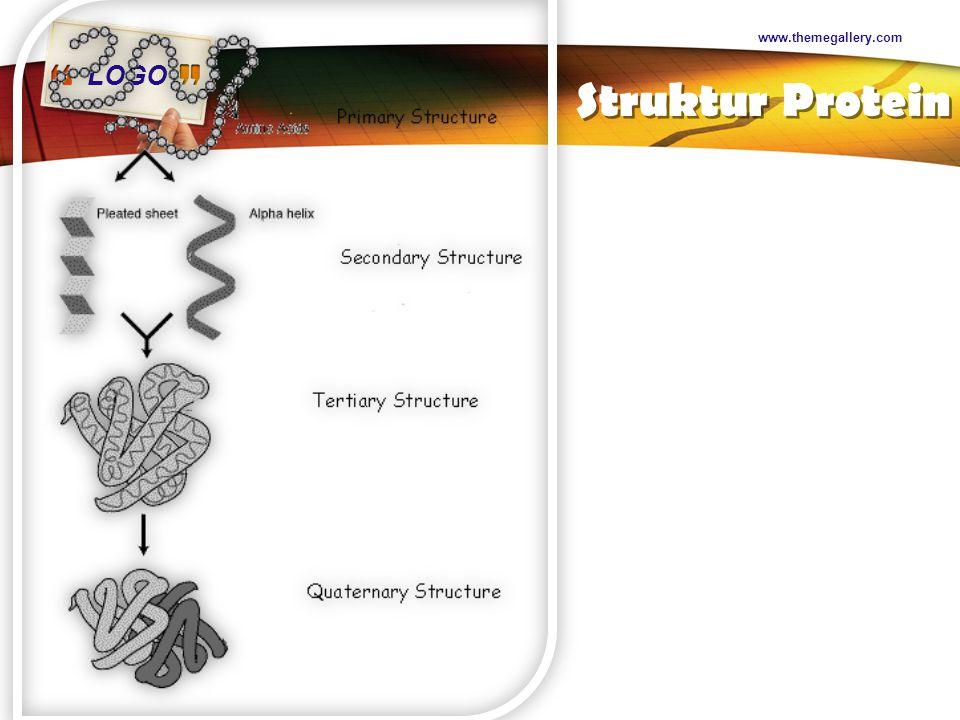 LOGO Sifat-sifat Protein Denaturasi struktur sekunder Bersifat irreversible Menjadi sukar larut Makin kenyal Perubahan Koagulasi Pemanasan Dengan asam Dengan enzim- enzim Perlakuan mekanis Penambahan garam www.themegallery.com