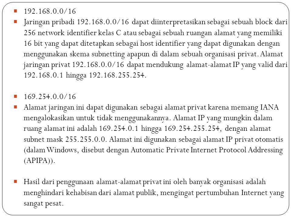  192.168.0.0/16  Jaringan pribadi 192.168.0.0/16 dapat diinterpretasikan sebagai sebuah block dari 256 network identifier kelas C atau sebagai sebua