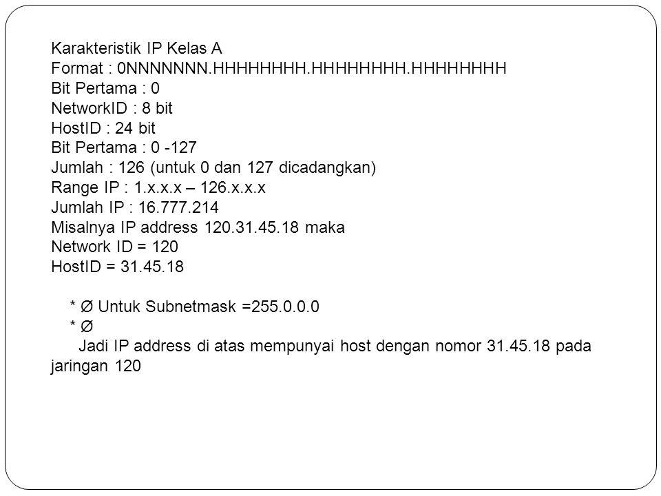 Karakteristik IP Kelas A Format : 0NNNNNNN.HHHHHHHH.HHHHHHHH.HHHHHHHH Bit Pertama : 0 NetworkID : 8 bit HostID : 24 bit Bit Pertama : 0 -127 Jumlah :