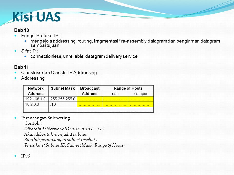 Kisi UAS Bab 10 Fungsi Protokol IP : mengelola addressing, routing, fragmentasi / re-assembly datagram dan pengiriman datagram sampai tujuan.