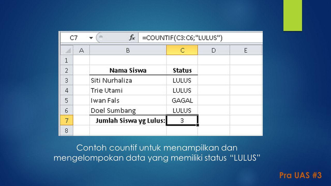 """Contoh countif untuk menampilkan dan mengelompokan data yang memiliki status """"LULUS"""" Pra UAS #3"""